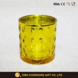 金張りの浮彫りにされたガラス蝋燭ホールダー