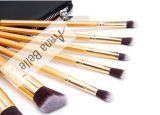 Luxe professionnel de la poignée en bois de couleur or cosmetic Make-up Jeu de balais