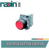 Interruptor de pulsador verde rojo con el piloto