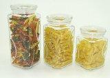Vaso di conservazione di vetro di memoria di spinta della cucina quadrata della parte superiore