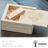 Rectángulo de madera de la foto de la nueva boda de Hongdao con USB_D