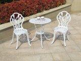 Cadeiras e tabela de bronze do braço da cor e da cor do branco usadas para o jardim e o beira-mar