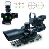 2.5-10X40 Táctico Rifle alcance con láser rojo y verde holográfico / rojo DOT vista