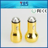 다채로운 노란 금속 두 배 USB 차 충전기 2.4A