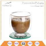 Taza de té de cristal del Borosilicate de la pared a prueba de calor del doble