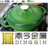 Зеленый эмаль рагу с покрытием мясо в горшочках