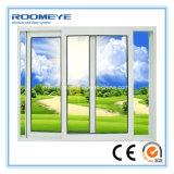 Roomeye polvo estructura de aluminio acabado ventana corrediza con vidrio templado de seguridad