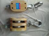 私達ホックが付いているタイプ二重Sheave木プーリーブロック