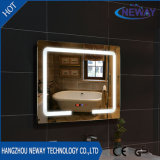 Nuevo maquillaje plateado baño LED Smart espejo biselado iluminado de espejo de pared, espejo LED