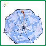 Embleem van de douane drukte Leverancier van de Paraplu van de Hemel van Pool van de Wandelstok van het Handvat van 2 Laag de Houten in China af