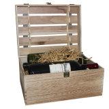 Diseño elegante de color natural Empaquetado de vino de madera con ventana transparente