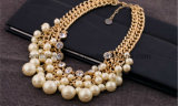Bisutería/ 2013 Material de aleación de zinc con chapado en oro perlas Cristal Diamante CZ Collar de perlas (PN-034)