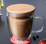 taza de cristal de la pared del doble de la taza de la leche del vidrio helado de la taza de café 350ml
