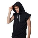 OEM-производитель пользовательские мужчин спортзал худи без рукавов черного цвета