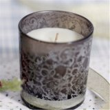 Frasco de vidrio vela de impresión en blanco y negro