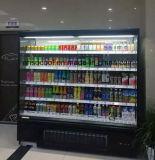 Bebida de supermercados independientes abrir Pantalla refrigerador con cortina de aire