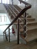 Escadaria de vidro reta do projeto moderno com o passo contínuo da escadaria do carvalho