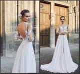 O baile de finalistas nupcial Chiffon veste os vestidos de casamento Chiffon Z1042 de Boho da praia do laço de Beatu