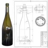 frasco de vidro verde antigo de vinho de 750ml Borgonha com revestimento da cortiça