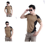 Venta al por mayor caliente de la camiseta de los hombres al aire libre de Tan más barata