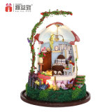 Wooden Doll House Miniature Toys with 2018 Happy New Year Gift