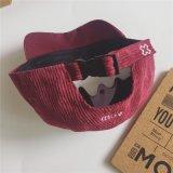 Kundenspezifischer Förderung-Schutzkappen-Qualitäts-Kordsamt Sports Baseball-Hut mit flachem Stickerei-Firmenzeichen