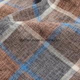 100% poliéster hilado teñido de aspecto cuadriculado Lino Tejido utilizado para el sofá
