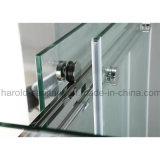 Puerta de vidrio de desplazamiento doble de la pantalla de la bañera con las barras de toalla