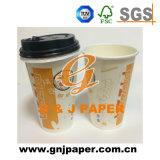 Doppel-wandige Papierkaffeetasse mit Kappe