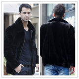 Короткое пальто шерсти норки Faux отворотом для одежд куртки людей