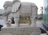 Tamanho da vida Sunset pedra vermelha Estátua de elefantes em mármore de granito para jardim de esculturas de Animais