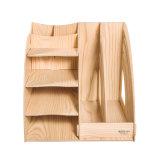 Bandeja de original de madeira dos artigos de papelaria do escritório de DIY com a cremalheira do arquivo de 2 colunas