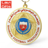 リボンが付いている安い昇進のカスタムフットボール賞メダル円形浮彫り
