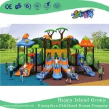 Напольное новое оборудование спортивной площадки скольжения комбинации детей крыши Brown Vegetable (HG-9501)