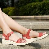 Frauen-Sandelholz-Leder-öffnen flache Sandelholz-Tief-Keil-Sommer-Schuhe Zehe-Plattform-Sandelholz-Frauen-beiläufige Schuhe