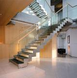 Escalera recta de madera moderna con el pasamano de cristal