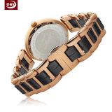 Montre-bracelet d'acier inoxydable de dames de mode