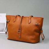 Saco de compra de couro do couro, único saco de ombro, saco de Tote elegante