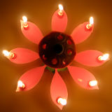 Opening Flower Candle Roating Birthday Music Candle