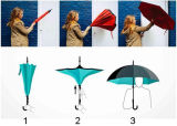 Вручную откройте 23дюйма x 8K двойной слой Upside-Down зонтик в перевернутом положении заднего хода