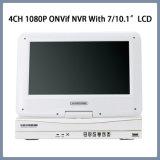 4CH 1080P P2P NVR Onvif con 7/10.1 pulgadas LCD