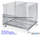 Recipiente galvanizado dobrável Stackable industrial do engranzamento de fio do metal
