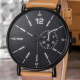 남자 (WY-17012B)를 위한 주문 로고 석영 남자의 손목시계 유리 스위스 손목