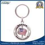Gire o metal redondas personalizada Porta-chaves