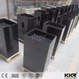 光沢のある黒い石造りの樹脂のアクリルの固体表面の支えがない洗面器