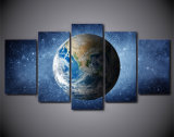 青い地球のキャンバスポスタープリントモジュラー映像のホーム装飾の壁の芸術のハングを塗る5piece壁映像スペース宇宙星