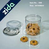 Сладостный контейнер 500ml конфеты освобождает опарник прозрачного любимчика пластичный с белой крышкой