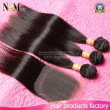 Перуанские прямые волосы девственницы с Weave человеческих волос дешевой ранга 7A закрытия перуанским с свободно/3 частями закрытием середина/3 шнурка
