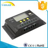 regulador de la carga de la batería solar de 12V/24V 20A con USB5V/2A dual Sm20