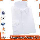 Los hombres blancos de la tela cruzada formal camisa de vestir de negocios de 100% algodón